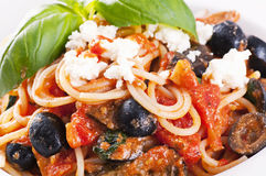 Sicilian pasta. With feta and black olives royalty free stock photography