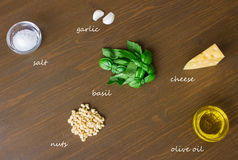 Sicilian pesto ingredients on wooden table. Sicilian basil pesto ingredients on wooden table. with caption Stock Images