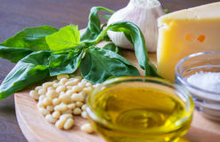 Sicilian pesto ingredients on wooden table. Sicilian basil pesto ingredients on wooden table. macro Royalty Free Stock Photo