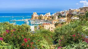 Sicilian port of Castellammare del Golfo, amazing coastal village of Sicily island, Italy. Sicilian port of Castellammare del Golfo, amazing coastal village of royalty free stock photo