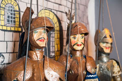 Sicilian puppets. Some Sicilian puppets with their typical brassy armor and painted face Royalty Free Stock Photos