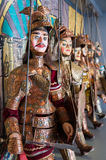 Sicilian puppets. Some Sicilian puppets with their typical brassy armor and painted face royalty free stock images
