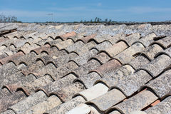 Sicilian roof, with old terracotta tiles. Stock Photo