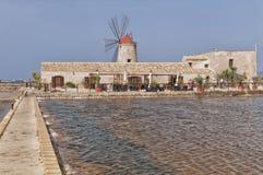 Sicilian saline (Marsala) Royalty Free Stock Image