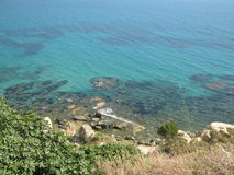 Sicilian sea. A view of the coast of Sicily (Italy Royalty Free Stock Photography
