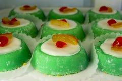 Italian cassata dessert. Sicilian sweet dessert Cassata. Italian pudding confectionery stock image