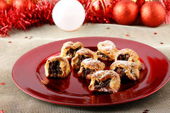 Sicilian sweet with dried figs and pastry on the Christmas table. On complex background Royalty Free Stock Photography