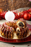 Sicilian sweet with dried figs and pastry on the Christmas table. On complex background Royalty Free Stock Photo