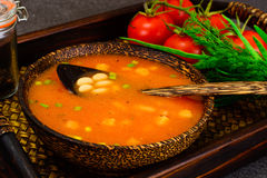 Sicilian Tomato Soup with White Beans. National Italian Cuisine Stock Image