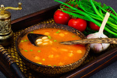 Sicilian Tomato Soup with White Beans. National Italian Cuisine Stock Images