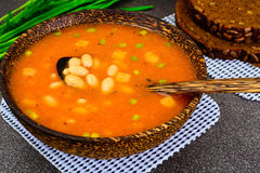 Sicilian Tomato Soup with White Beans. National Italian Cuisine Royalty Free Stock Photo