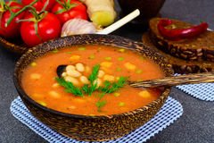 Sicilian Tomato Soup with White Beans. National Italian Cuisine Royalty Free Stock Photos