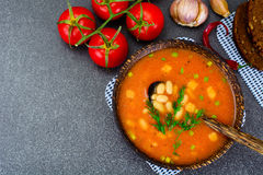 Sicilian Tomato Soup with White Beans. National Italian Cuisine Stock Photos