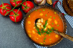 Sicilian Tomato Soup with White Beans. National Italian Cuisine Stock Photo