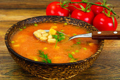 Sicilian Tomato Soup with White Beans. National Italian Cuisine Royalty Free Stock Images