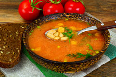 Sicilian Tomato Soup with White Beans. National Italian Cuisine Royalty Free Stock Photography