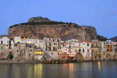 Sicilian town of Cefalu at dusk Royalty Free Stock Image