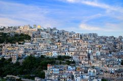 Sicilian village on mountain Royalty Free Stock Images