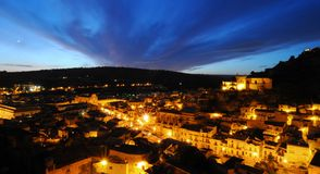 Sicilian village night scene Stock Photography