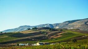 Sicilien jordbruksmark Fotografering för Bildbyråer