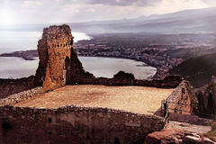 Sicily. Ancient building in Sicily, beautiful landscape Royalty Free Stock Photography