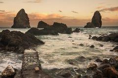 Sicily: Acitrezza at sunset. Royalty Free Stock Photos
