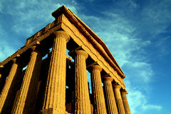Sicily, ancient temple on blue eletric sky, Italy Royalty Free Stock Photo