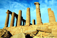 Sicily, ancient temple on blue sky, Italy Stock Image