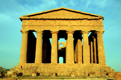 Sicily, ancient temple on blue sky, Italy Stock Photography