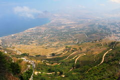Sicily. Beautiful view from the city on the hill Royalty Free Stock Image