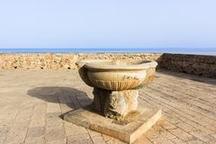 Sicily, Cefalu, terrace overlooking the sea Stock Images