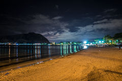 Sicily Coast and citylights Stock Images