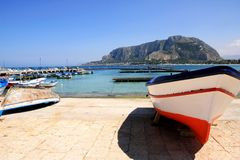 Sicily, colorful fishing boat sea & mount Royalty Free Stock Image