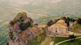 Sicily, Italy:Church of San Salvatore in Mountain town Caltabellotta Stock Images