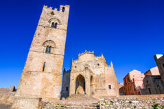 Sicily, Italy, tower of Erice Cathedral Stock Images