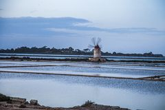 Sicily landscape with saline Stock Photography