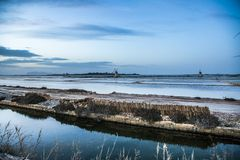 Sicily landscape with saline Royalty Free Stock Image