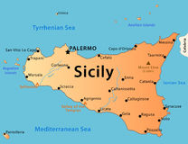 Sicily map. Illustration of the map of Sicily with its main cities, rivers, mountains and archaeological sites
