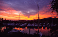 Sicily's harbour. Little touristic harbour in sicily (Italy) with a colorful sunset Royalty Free Stock Images