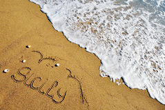 Sicily sign on the beach Royalty Free Stock Images