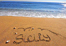 Sicily sign on the beach Stock Image