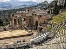 Sicily, Taormina panorama. Taormina, Sicily, the Greek Theatre Royalty Free Stock Photos