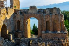 Taormina, Sicily, Greek theater.08/08/2018 stock photography