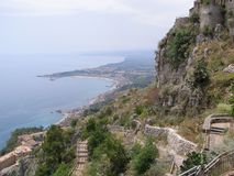 Sicily Taromina View Over Bay Mediterrean Sea royalty free stock photo