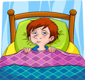 Sick. Person lying in bed stock illustration
