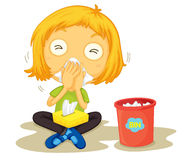 Sick. Illustration of a sick girl Stock Images