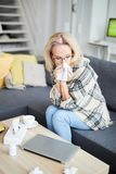 Sick Adult Woman at Home stock photography