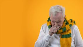 Sick aged man in scarf suffering cough, infection disease, sore throat treatment. Stock footage stock video