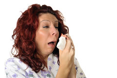 Sick or allergic woman. Sneezing stock photography