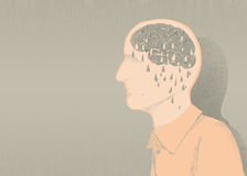 Sick of alzheimer illustration and memory loss. Memory loss disease like Alzheimer's. forgotten relatives names and objects royalty free illustration